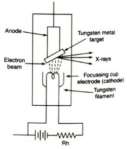 Schematic diagram of an X-ray tube, X-ray (एक्स-रे) in Hindi